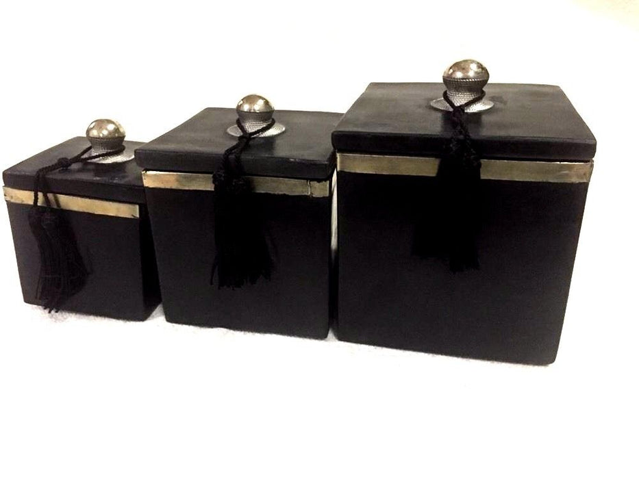 Moroccan Set of 3 Spice Jar Canisters in Painted Terracotta & Metal Decor Black