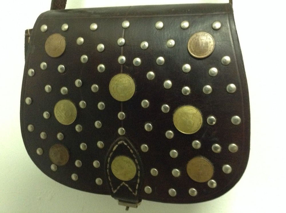 Moroccan Handsewn Brown Leather Mini Purse Crossbody Bag Vintage Coins & Metal