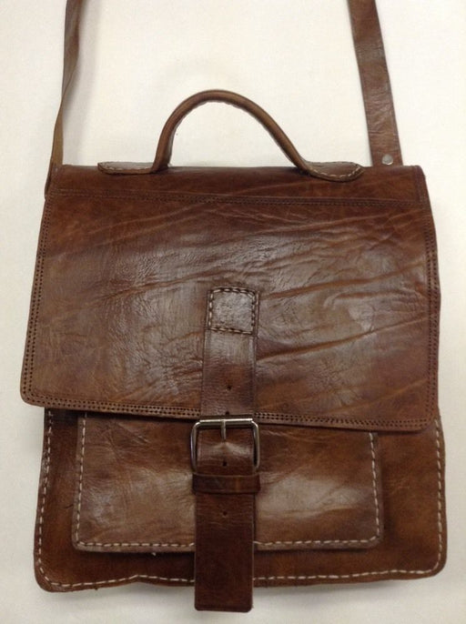 Rugged Design Handmade Raw Tan Leather Briefcase Messenger Travel Bag 2
