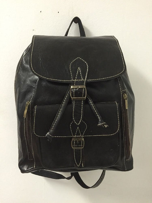 Handmade Leather Backpack Rustic Rugged Travel Bag in Black M