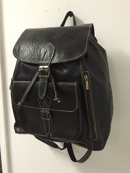 Handmade Genuine Leather Backpack Rugged Rustic Travel Bag in Black M
