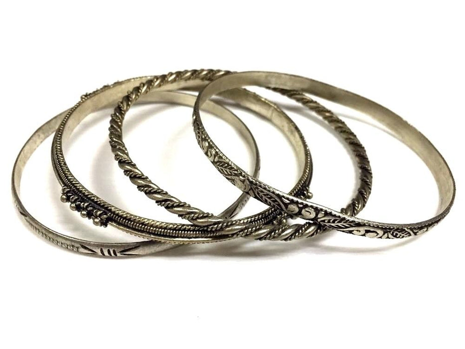 4 Piece Moroccan Bangle Bracelets in Hammered & Engraved Alpaca Silver Tribal Style