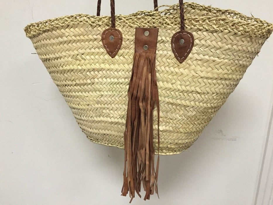 Moroccan Straw & Leather Shopping French Market Basket Bag Large Shoulder Tote