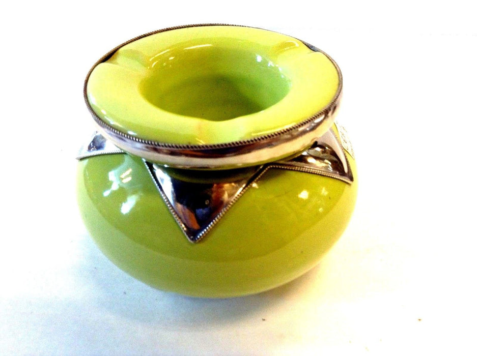 Moroccan Lidded Ashtray  Glazed Terracotta & Metalwork Decorated Apple green