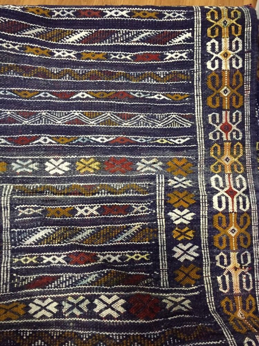 "Moroccan Handwoven Berber Tribal Wool Kilim Kilem Area Rug Carpet 83""x 57"""