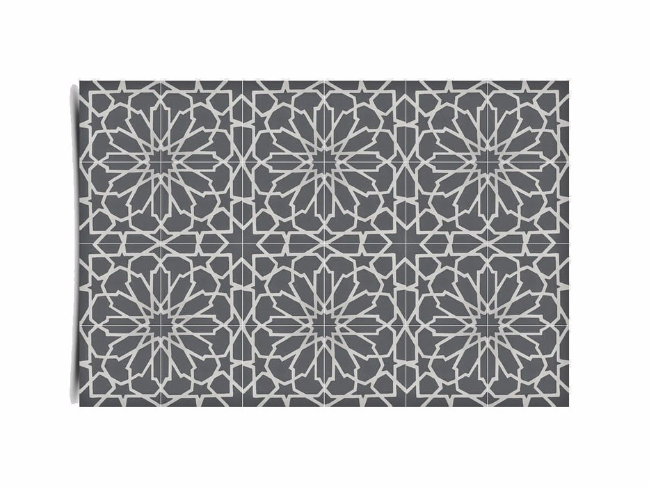 "Moroccan 12 Piece Handmade Cement Mosaic Tile Gray 8""x8"" Geometric Design"