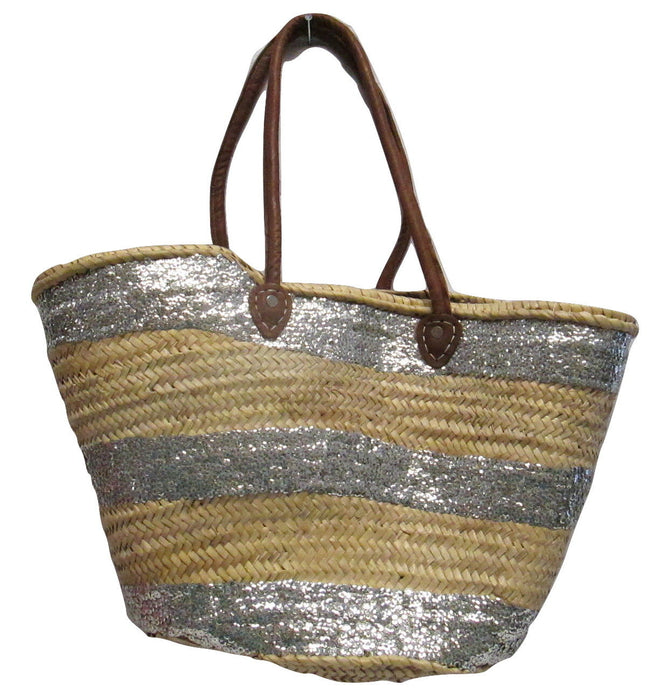 French Market Basket Sparkling Sequin & Leather Straw Bag Silver Stripped