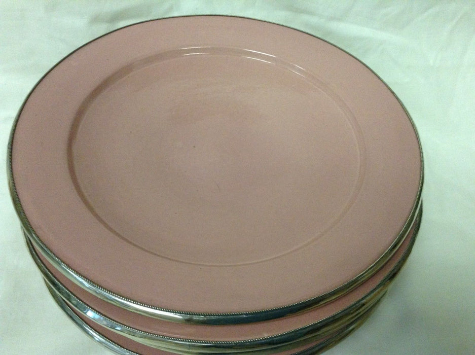 "Moroccan Serving Dish Plate in Glazed Terracotta & Silver Alloy Trim 9"" PINK"