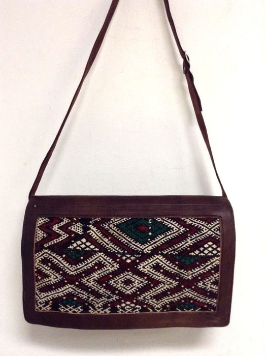 Moroccan Tribal Rugged Briefcase in Kilim Wool & Leather Travel Messenger bag
