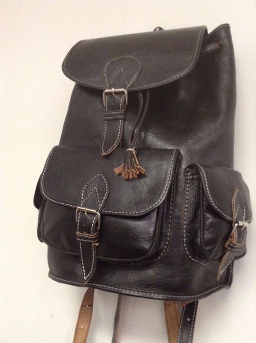 Handmade Genuine Leather Backpack Rugged Rustic Travel Bag in Black 3 Pockets L