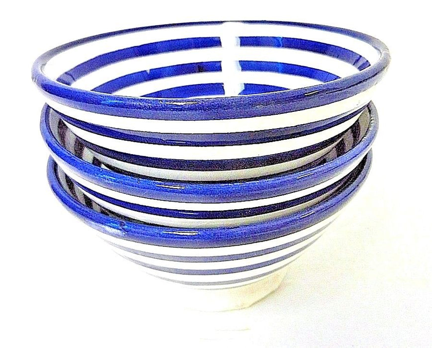 Moroccan Hand Painted Small Ceramic Striped Safi Bowls Set of 2