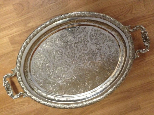 Antique Moroccan Arabic Engraved Carved Silver Plated Brass Serving Oval Tray