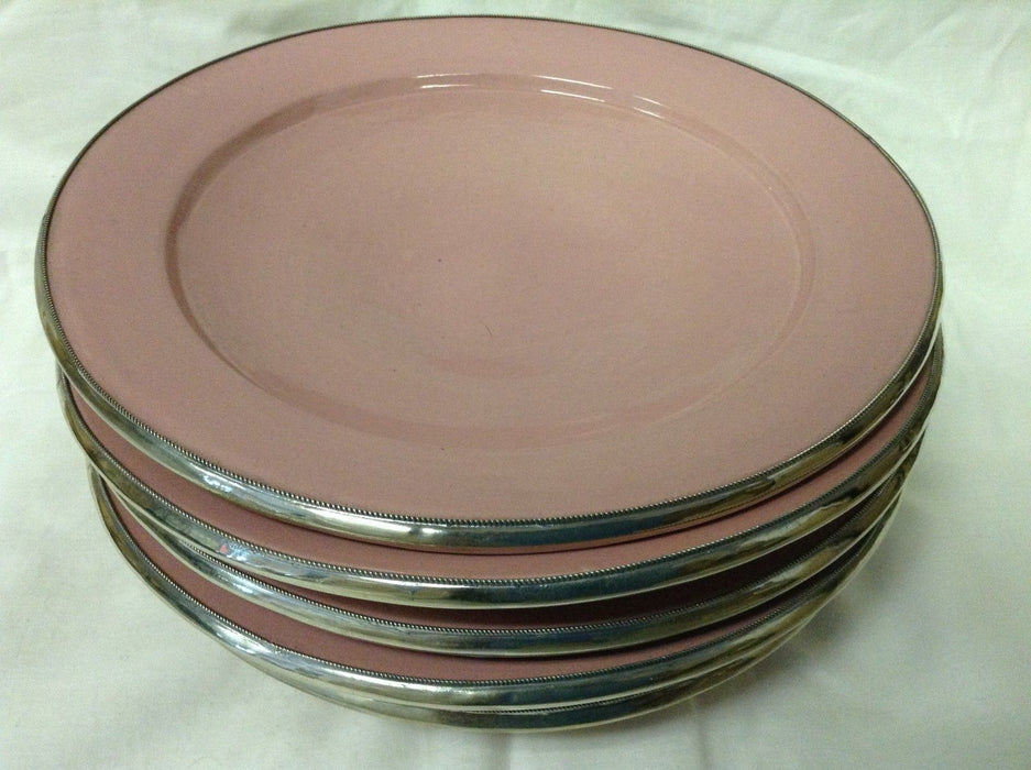 "Moroccan Serving Dish Plate in Glazed Terracotta & Silver Alloy Trim 10"" PINK"