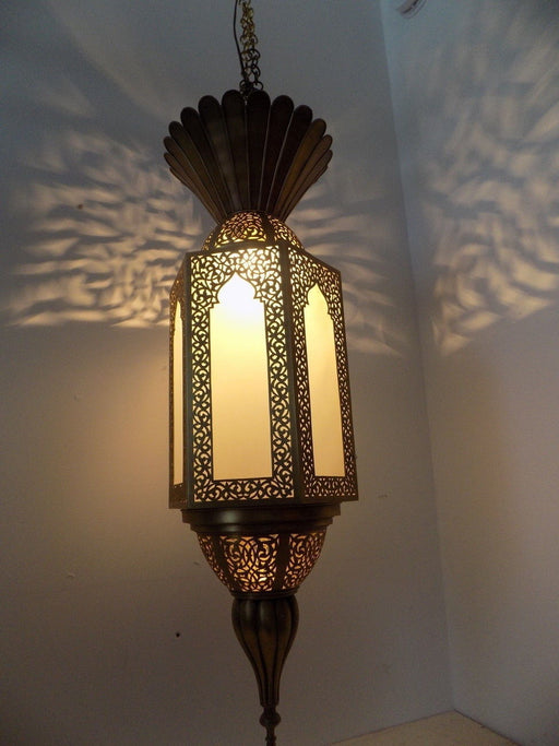 Moroccan Brass Hanging & Frosted Glass Pendant Lantern
