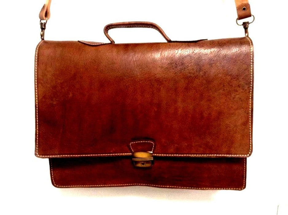 "Morocco Design Raw Tan Rustic Leather Briefcase 16"" Laptop Case Portfolio"