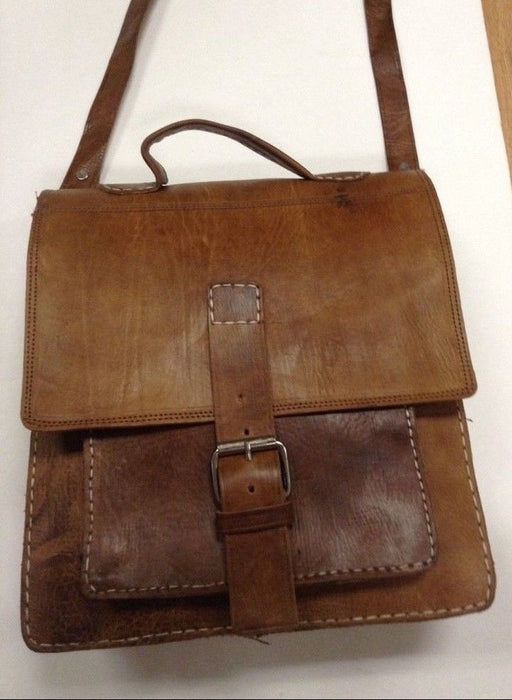 Rugged Design Handmade Raw Tan Leather Briefcase Messenger Travel Bag