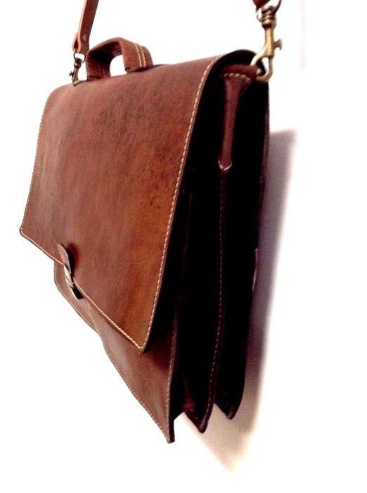 "Morocco Design Brown Rustic Leather Briefcase 16"" Laptop Case Rugged Portfolio"