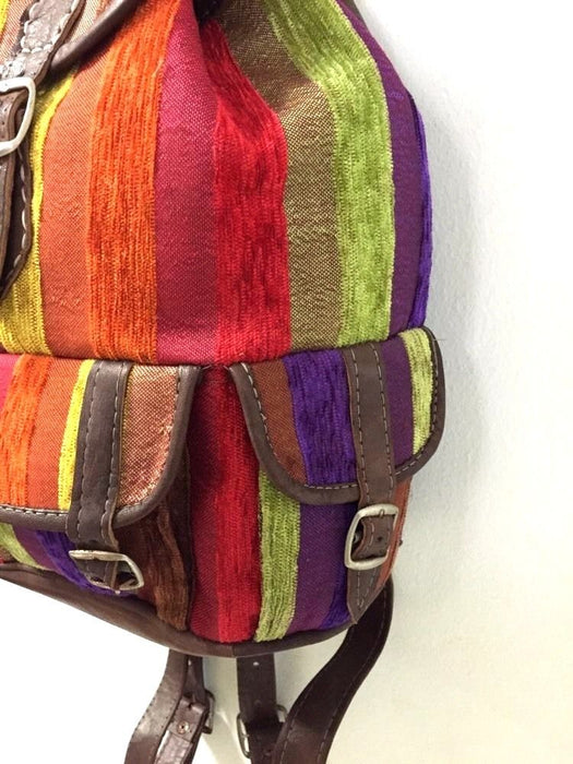 Moroccan Sabra Silk Fabric & Brown Leather Multicolor Striped Backpack Handbag