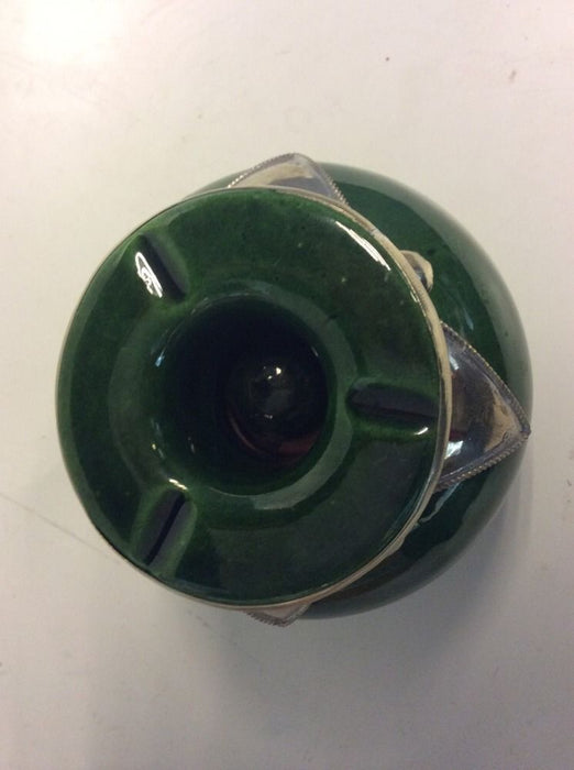 Moroccan Lidded Ashtray Glazed Terracotta & Metalwork Decorated  DARK GREEN