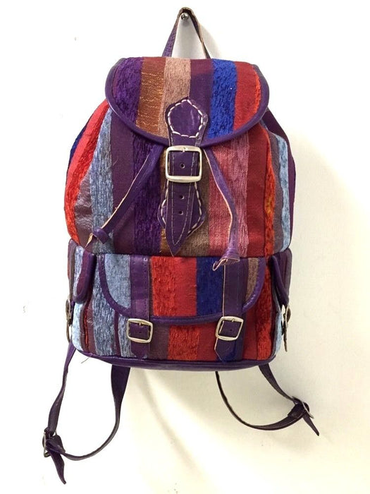 Moroccan Sabra Silk Fabric & Purple Leather Multicolor Striped Backpack