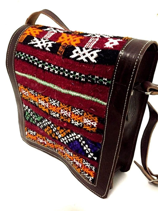 Morocco 100% Leather Messenger Bag Handsewn Kilim Wool Rugged Boho Handbag