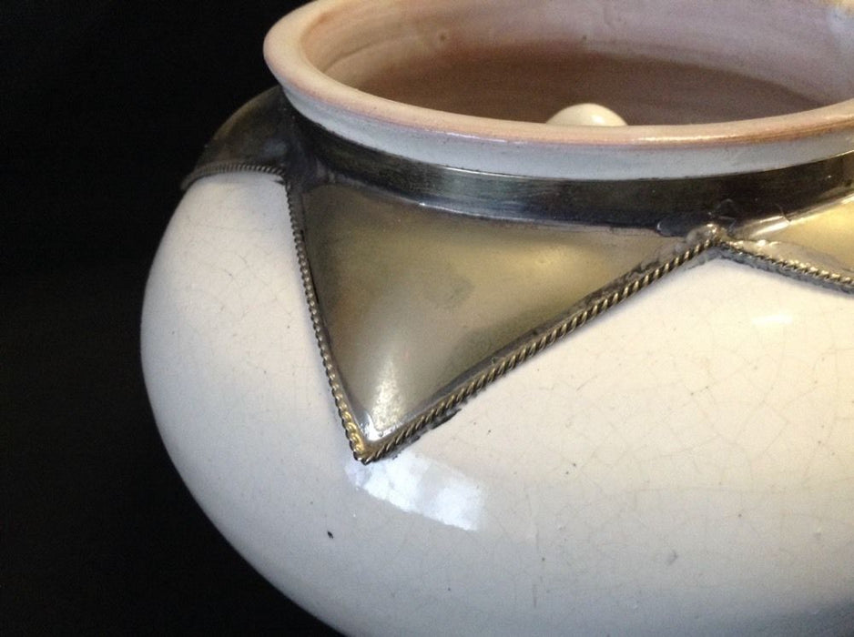 Moroccan Lidded Ashtray in Glazed Terracotta Metalwork Decorated Accent WHITE XL