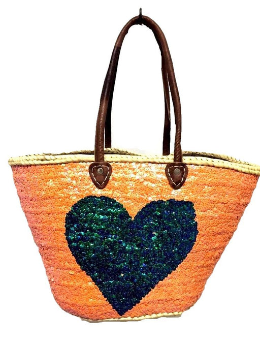 Moroccan French Market Basket Heart Sparkling Sequin Leather Straw Tote Bag