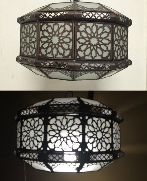Moroccan Frosted Glass Round Pendant Lamp Arabesque Metalwork