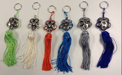 Moroccan Silver Alloy Star Keyring & Charm Tassel Decor in assorted Colors