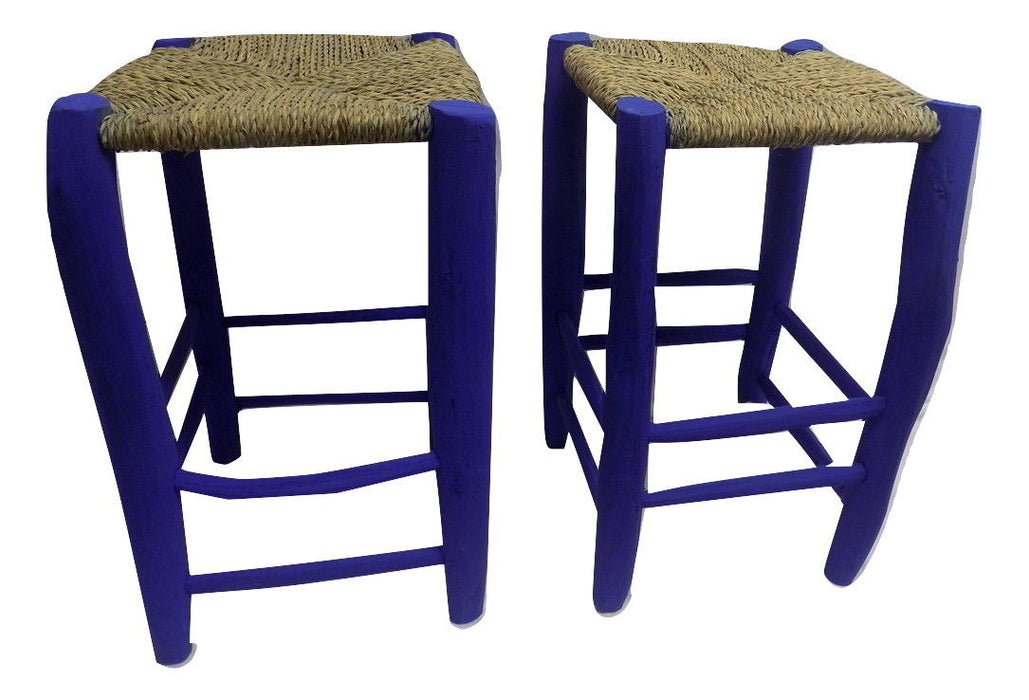 Medium set of 2 Moroccan wooden Garden stool