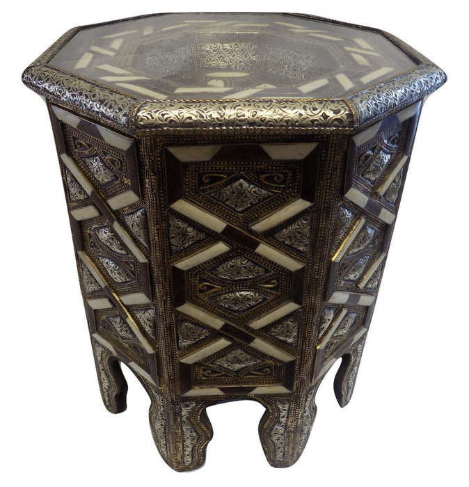 Moroccan Octagonal Metal Accent End Table Arabesque Design Furniture