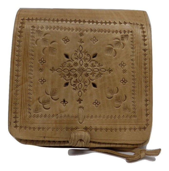 Moroccan 100% Embossed Thick Leather Handmade Cross Body Purse Tablet