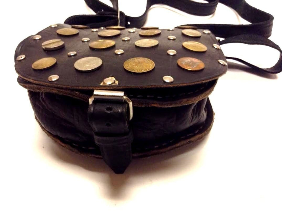 Moroccan Handsewn Brown Leather Small Purse Crossbody Bag Vintage Coins & Metal