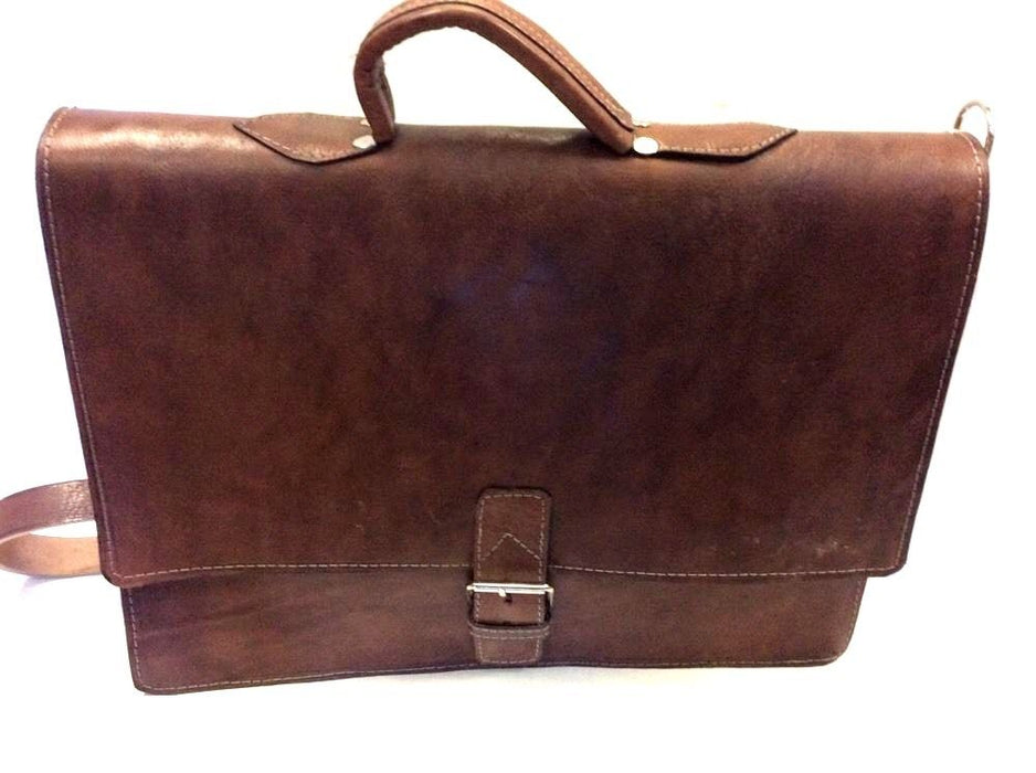 "Rugged  Design Raw Leather Briefcase 16"" Laptop Case Dark Brown"