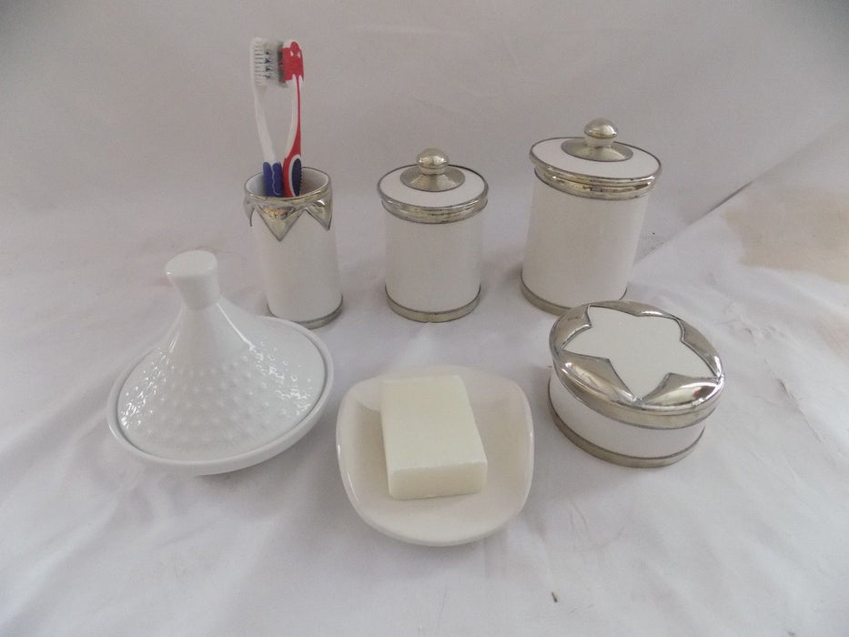 Bathroom Vanity Accessories 6 Pieces set  Moroccan Pottery white color
