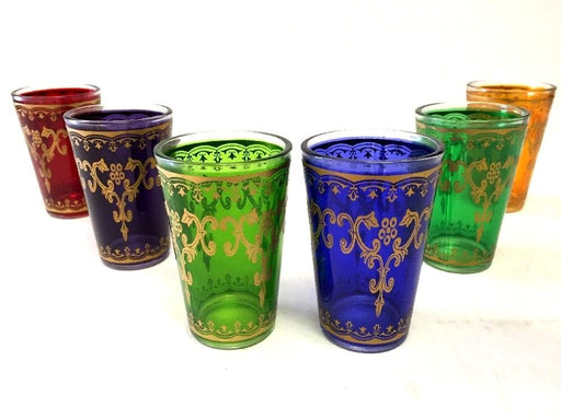 Moroccan 6 pieces Multi color Tea Glass set & Gold Tea Glasses Set
