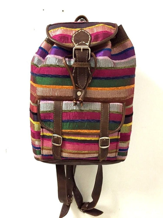 Moroccan Sabra Silk Fabric & Brown Leather Multicolor Striped Backpack 3