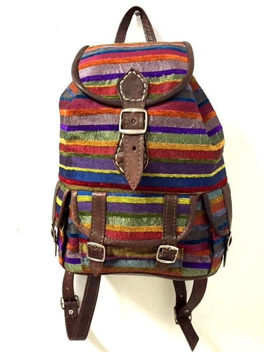 Moroccan Sabra Silk Fabric & Brown Leather Multicolor Striped Backpack 2