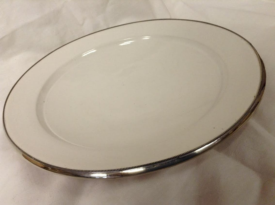 "Moroccan Serving Dish Plate in Glazed Terracotta & Silver Alloy Trim 10"" WHITE"