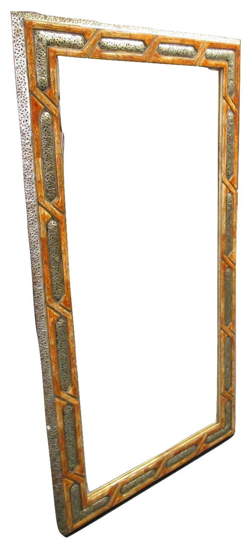 Moroccan Carved Camel Bone & Silver Metalwork Arabic Arch Wall Mirror