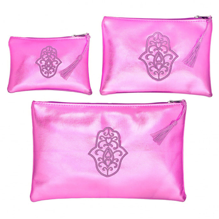 Moroccan Set of 3 Cosmetic Bag Pouch Khamsa Hand Fatima Lucky Hand pink