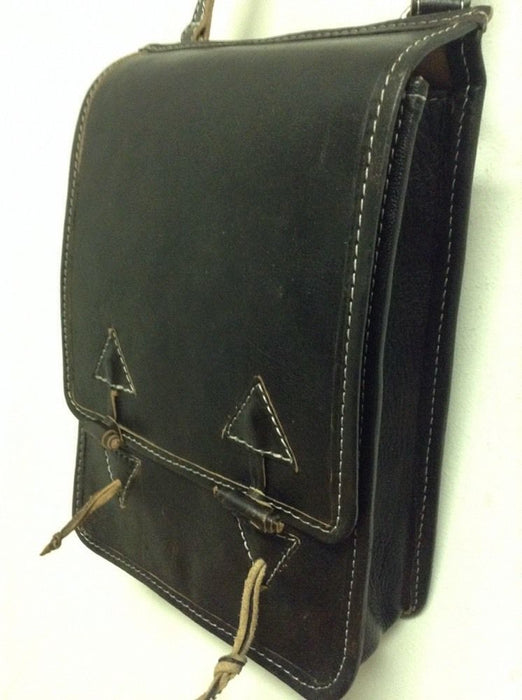 Rugged Design Handmade Raw Black Leather Briefcase Messenger Travel Bag Morocco