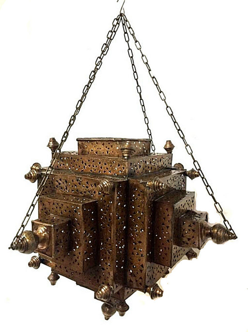 Moroccan Hanging Pendant Carved Brass Plated Metalwork Lantern
