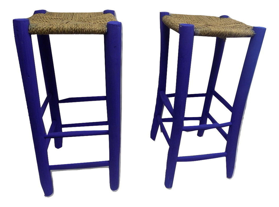 Large set of 2 Moroccan Garden wooden stool