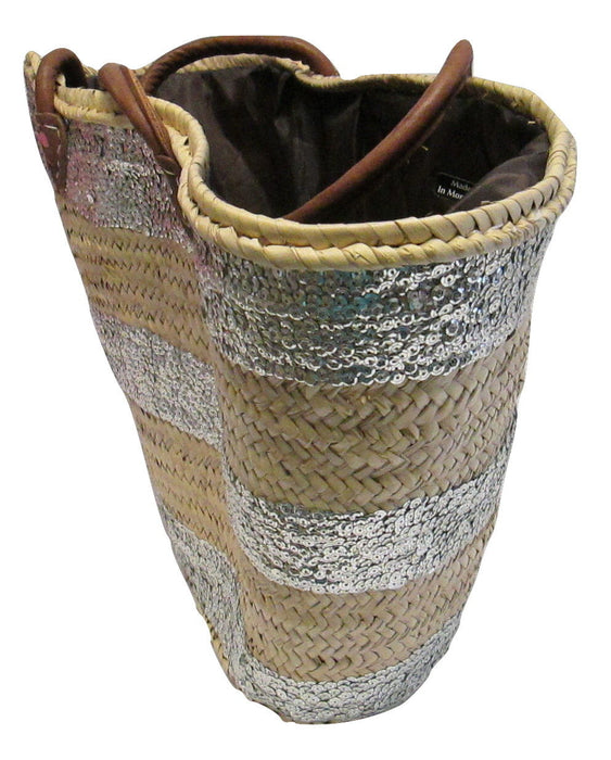 French Market Basket Sparkling Sequin & Leather Straw Bag Stripped Silver