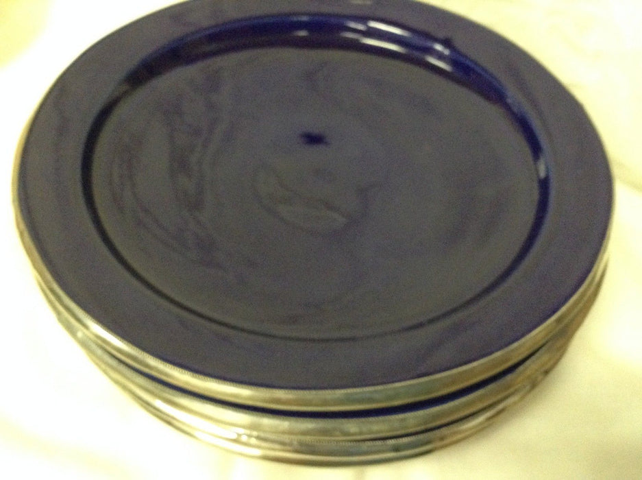 "Moroccan Serving Dish Plate in Glazed Terracotta & Silver Alloy Trim 10"" BLUE"