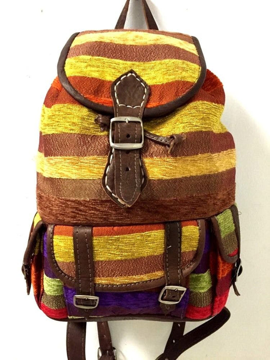 Moroccan Sabra Silk Fabric & Brown Leather Multicolor Striped Backpack