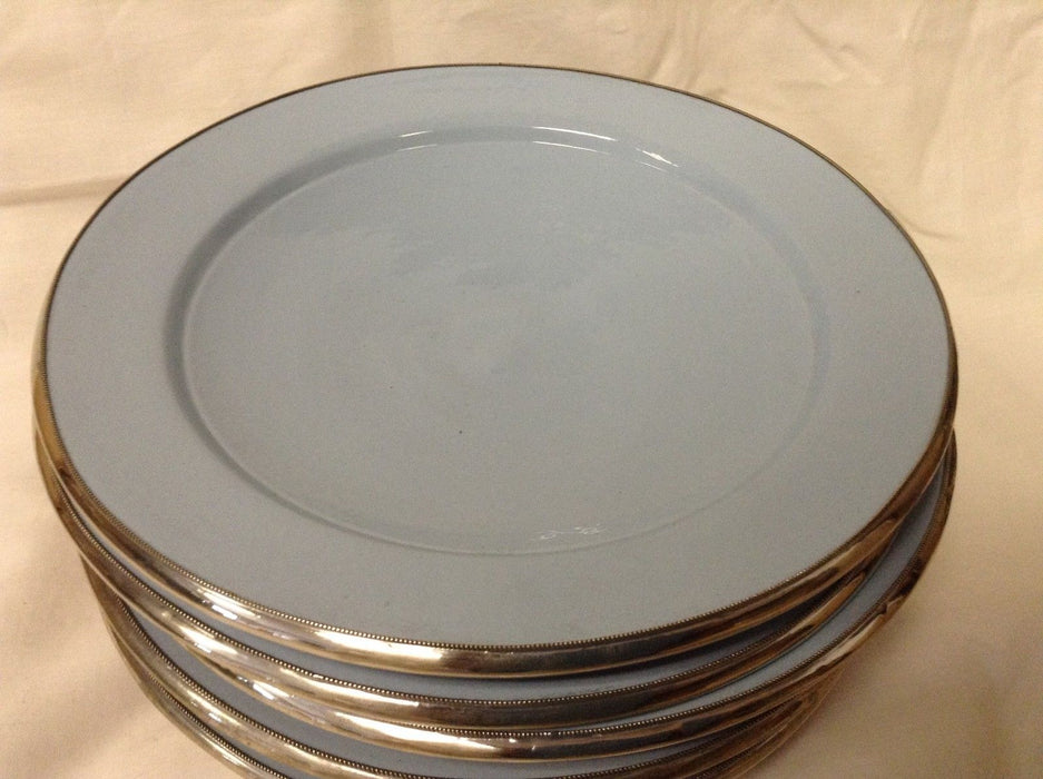 "Moroccan Serving Dish Plate in Glazed Terracotta & Silver Alloy Trim 9"" SKY BLUE"