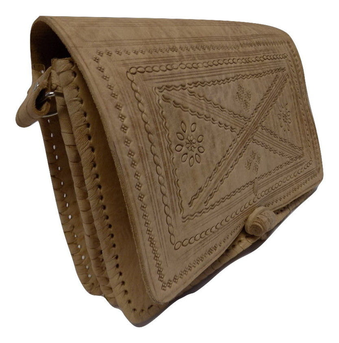 Moroccan 100% Embossed Thick Leather Handmade Cross Body Purse Tablet-Light Tan