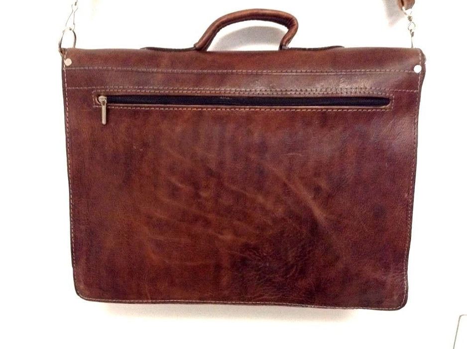 "Morocco Design Raw Tan Rustic Leather Briefcase 16"" Laptop Case Rugged Portfolio"